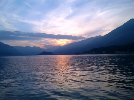 Lake Como at sunset.