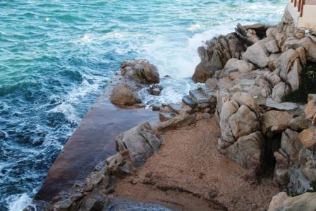 Mini beach on a windy day --too dangerous to swim
