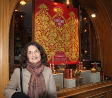 Claudine in front of her favoirte tea shop, Mariage Freres, a must for tea aficionadas.