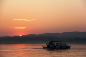Sunset on Irrawaddy River.