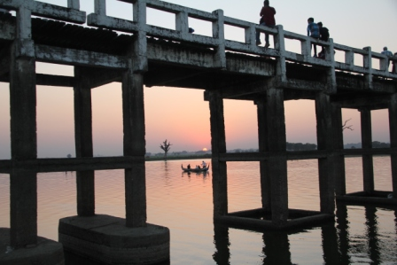 U Bein teak bridge, 200 yrs. old, Mandalay.
