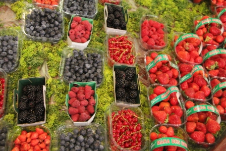Markets offered a profusion of berries.