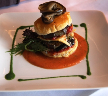 "Isabelle won high marks for originality with this ""eggplant burger,"" but it was bland."