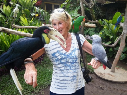 With feathered friends.