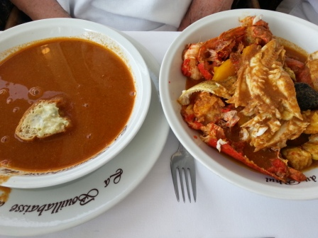 Bouillabaisse is much more than fish soup. A plate brimming with different kinds of fish comes with the soup.  Carol ordered the deluxe version with lobster.