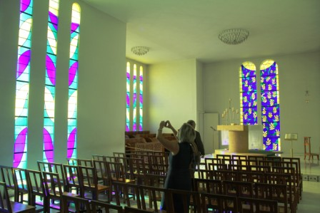 "Although photos are ""interdit"" at the Vence chapel, many manage to get a shot."