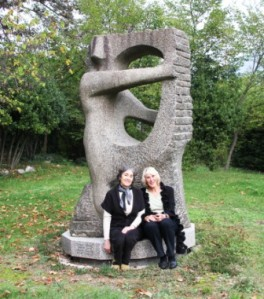 Marie and I with one of her father's sculptures.