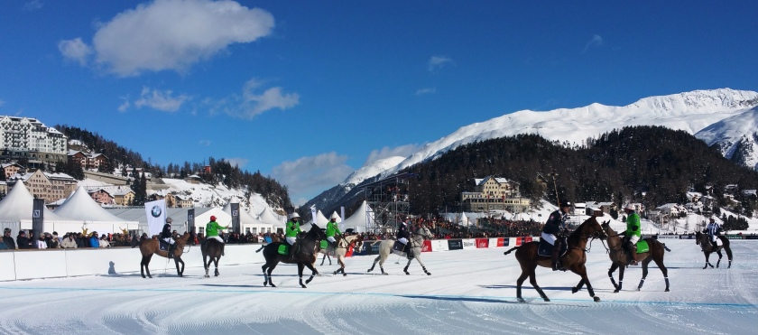 Snow polo on St. Moritz's frozen lake.