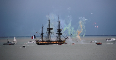 Fireworks fete the Hermione.