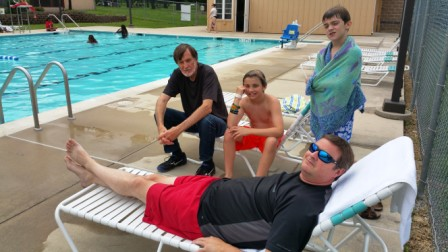 BB, Lang, Sam and Rob enjoy pool at reunion site.