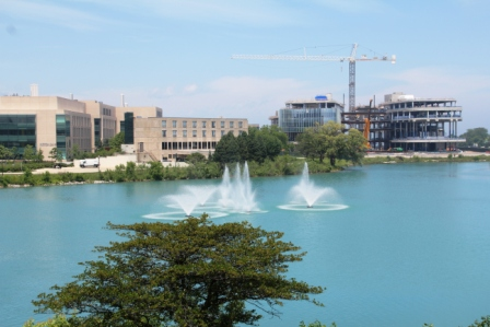 Northwestern campus with more construction underway.