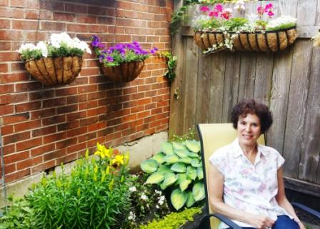 Bev in her garden.