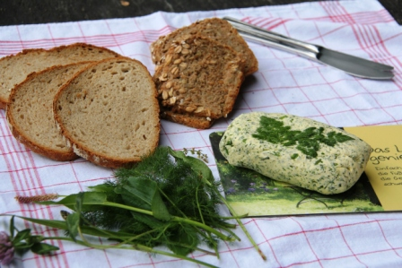 Butter mixed with wild herbs-- delicious on bread.