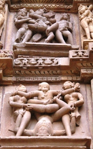 Erotic sculptures at Khajuraho.