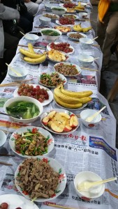Copious lunch spread in Huanggang before the fall.